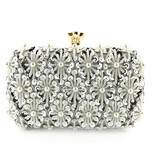 Gogoodgo Womens Clutch Luxury Purse Evening Bags Full Beaded Artificial Pearls Handbag for Party Silver