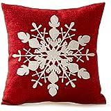 SODIAL(R) 冬のグリーティングベージュアイボリーシャドーの綺麗なスノーフレーク 赤 メリークリスマスギフト リネン 枕ケース クッションカバー ホーム オフィス リビングルーム 創造的で スクエア ベージュ+赤