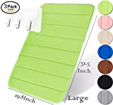 Yimobra Memory Foam Bath Mat Absorbency 31.5 X 19.8 Inch Variety Colors Microfiber Bathroom Rug Non Slip, Green with Wall Hooks 3 Pack
