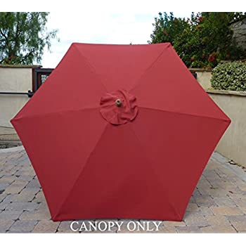 9ft Umbrella Replacement Canopy 6 Ribs in Brick Red (Canopy Only) & Amazon.com : 9ft Umbrella Replacement Canopy 6 Ribs in Black ...