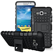 Galaxy Grand Prime Case, FoneExpert® Heavy Duty Rugged Impact Armor Hybrid Kickstand Protective Cover Case For Samsung Galaxy Grand Prime G530 G5308 + Screen Protector & Cloth (Black)