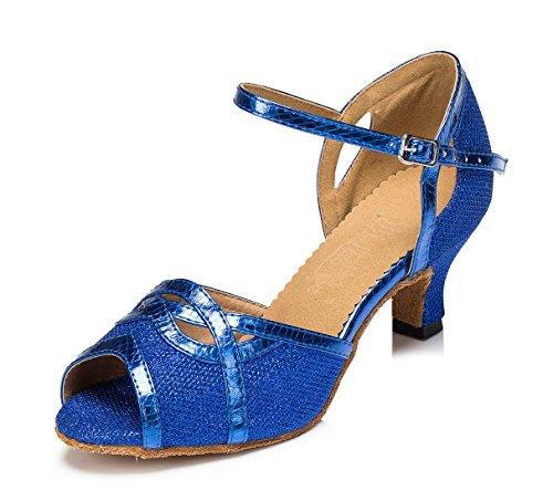 (URVIP Women's Glitter Leather Heels Pumps Modern Latin Tango Shoes Cross Ankle Strap Buckle Dance Shoes LD059 Blue 8.5 B(M) US)