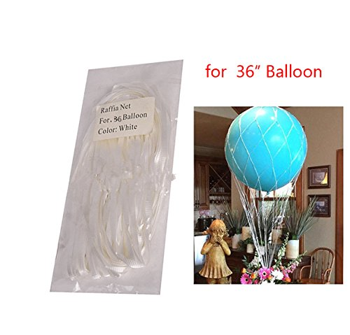 Hot Air Balloon Net (White Hot Air Balloon Nets For 36 inch Balloon Centerpieces - Pack of 3)