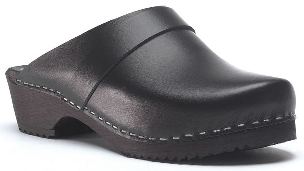 Toffeln Classic Klog 310 Classic Traditional Wooden Clogs - Black 6.5