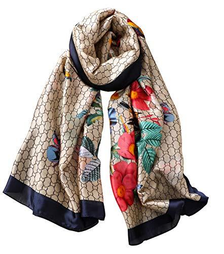 NUWEERIR Womens 100% Mulberry Silk Scarf Long Satin Scarf Fashion Designer Scarf Lightweight Neck - Silk Floral Scarf Long