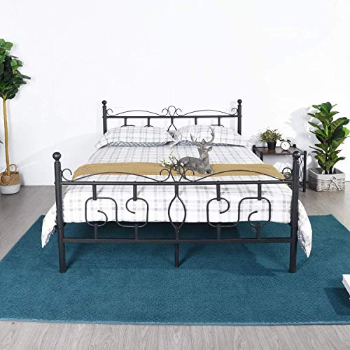 DORAFAIR Queen Size Bed Frame Metal Platform Bed with Victorian Style Headboard and Footboard,Mattress Foundation/Box Spring Replacement/Non-Slip Steel Support/Smart Bed Base,Matte Black