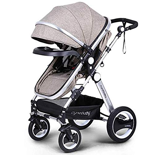 Belecoo Baby Stroller for Newborn and Toddler – Convertible Bassinet Stroller Compact Single Baby Carriage Toddler Seat Stroller Luxury Stroller with Cup Holder (Linen Khaki)