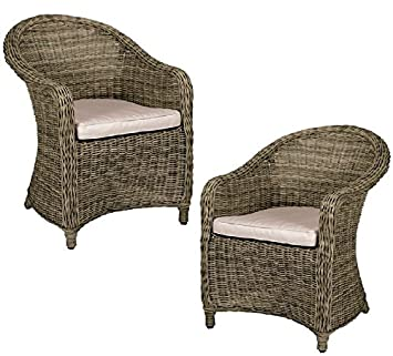 BRAND NEW CHRISTOW BROWN RATTAN CHAIRS OUTDOOR GARDEN PARTY BALCONY CHAIRS  2 CHAIR SET OUT (