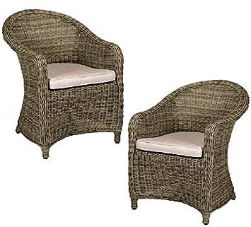 Juego de dos sillas de mimbre para jardín (marrón): Amazon ...