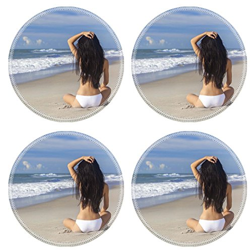 Liili Round Coasters A sexy young brunette woman or girl ...