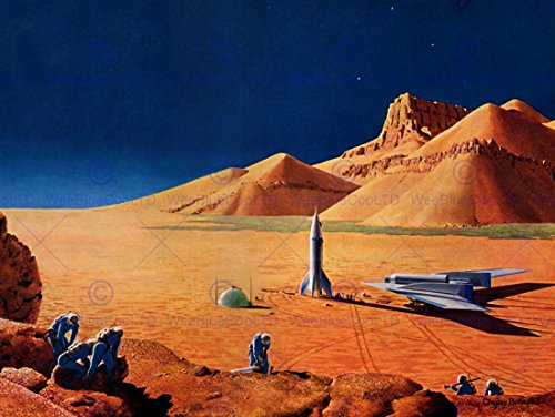 Science Fiction Landscape Desert Space Ship Rocket Plane Poster Print