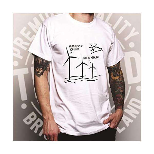 I'm A Big Metal Fan Music Festival Pun Joke Windmill Slogan Metal Rock Band Song Rocker Birthday Mens T-Shirt Cool Funny Gift Present