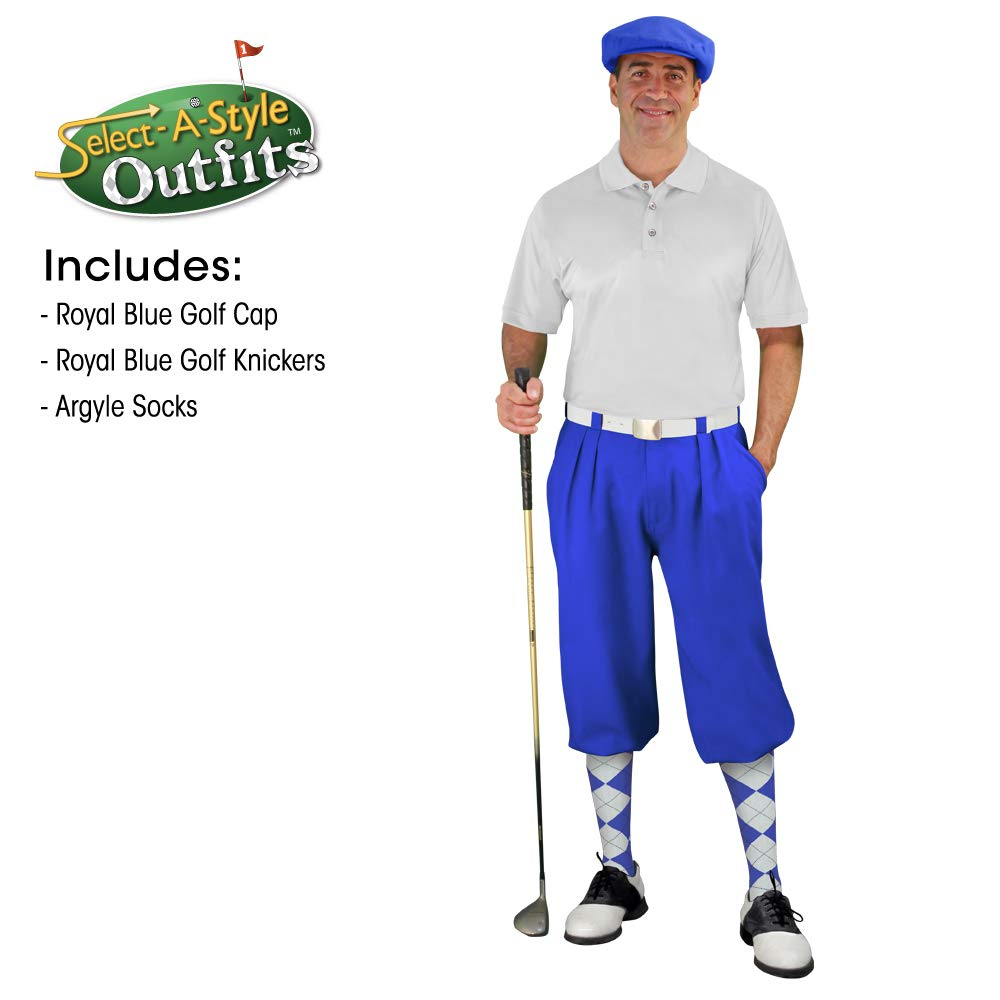 Golf Knickers Mens Select A Style Outfit - Matching Golf Cap - Royal - Waist 48 - Sock - Royal/White by Golf Knickers