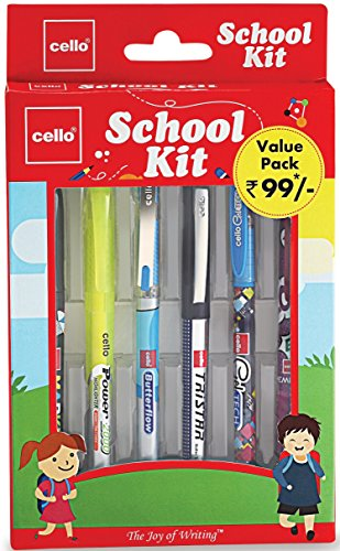 Cello School Kit Pen Set (Pack of 6 items) | Combo Stationery pack with Ball Pens – Blue, Gel Pens – Blue, Roller Pen – Blue, Mechanical Pencil, Marker and Highlighter for students | School Stationery Set
