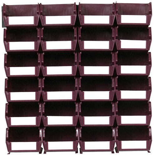 Triton Products LocBin 3-210RBWS Wall Storage Unit with Wall Mount Rails 8-3/4-Inch L Hardware and Red Interlocking Poly Bins, 24-Count, Raspberry, 26-Piece