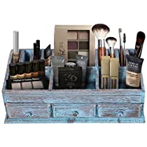 Rustic Wooden Desk Organizer for Home or Office - Mail Rack for Desktop, Tabletop, or Counter – Desk Supplies Organizer with 3 Drawers and 6 Compartments – Workspace Organizer