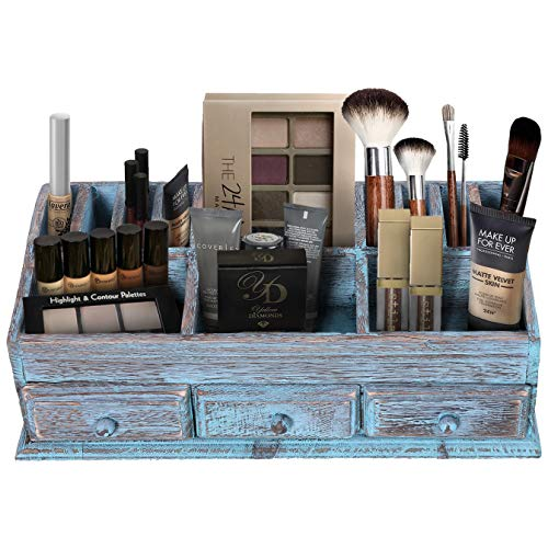 Rustic Wooden Desk Organizer for Home or Office - Makeup Organizer and Storage for Bathroom - Vanity Organizer with 3 Drawers and 6 Compartments - Rustic Blue Workspace Organizer (Blue Rustic Desk)