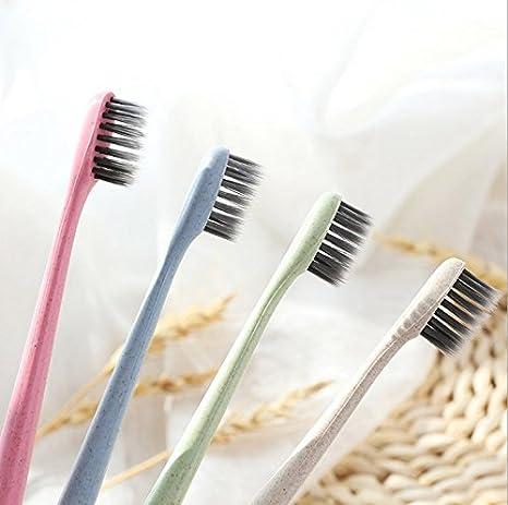 Cepillo de dientes suave de paja de trigo de bambú y carbón, de Philna12: Amazon.es: Hogar