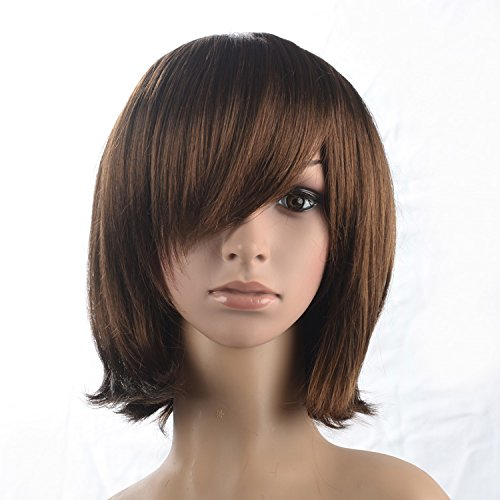 Price comparison product image Namecute Long BOB Brown Wig Shoulder Length Part Human Hair Wigs, Free Wig Cap