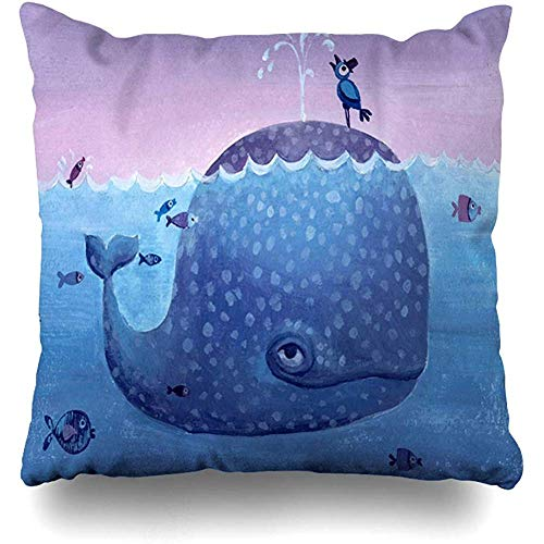 Throw Pillow Cover Blue Painting Cute Whale Purple Young Bird Adventure Water Artistic Design Ocean Home Decor Cushion Case Square Size 18
