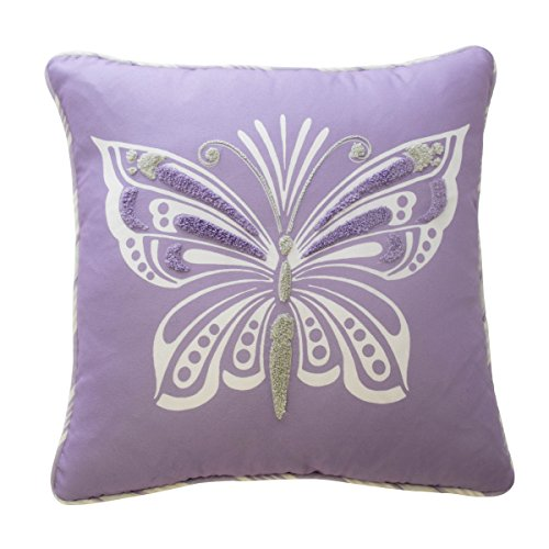 Pillow Decorative Butterfly - Waverly Kids 16435015X015PUR Ipanema  15-Inch by 15-inch  Butterfly Decorative Accessory Pillow, Purple
