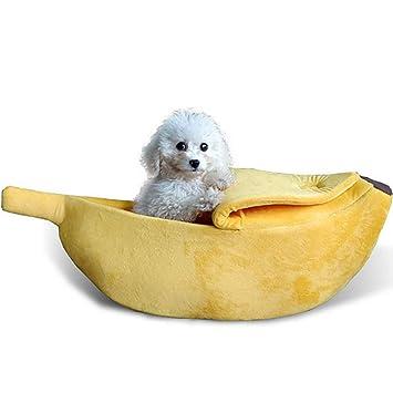 mi ji Plátano Linda Forma de Gato Habitación con Cama casa del Animal doméstico Suave Abrazo