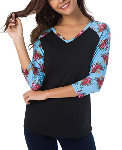 - Women's Long Sleeve V Neck Loose Shirt Floral Printed Raglan Top Shirt (L, Black Blue)