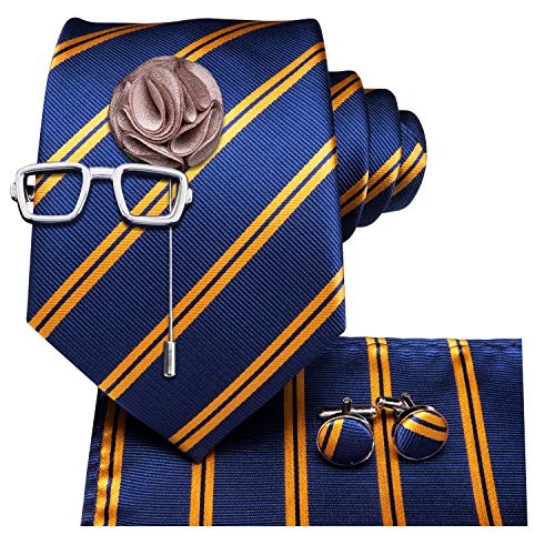 Dubulle Striped Mens Tie and Pocket Square with Glass Tie Clip Lapel Pin Cufflinks ()
