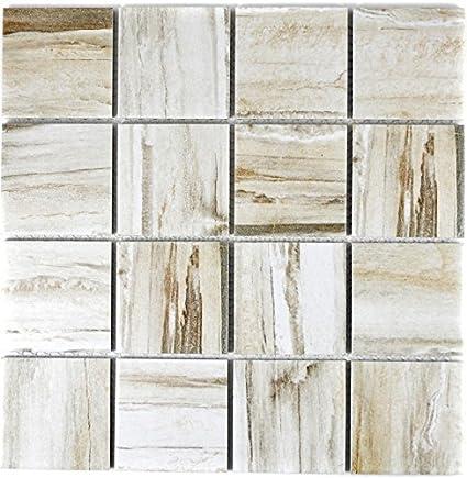 tessere di mosaico in ceramica effetto legno beige chiaro ...