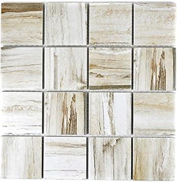 Mosaik Fliese Keramik beige Holzoptik hell für BODEN WAND BAD WC ...