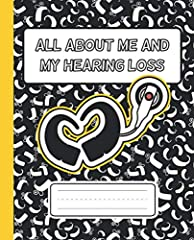 """★ Click on """"Hearing Loss Designs Co"""" to look at more notebooks and hearing loss shirt designs       ★ This Hearing loss journal has pages to fill out about child's degree hearing loss, devices they wear, amplification system, daily che..."""