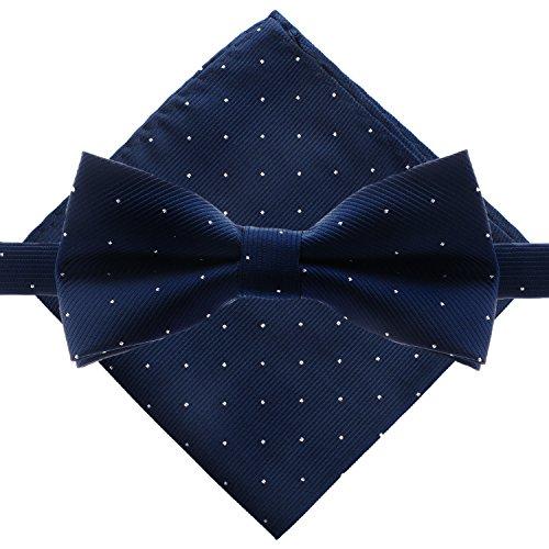 Men's Polka Dot Bowtie & Pocket Square Set - Navy Blue