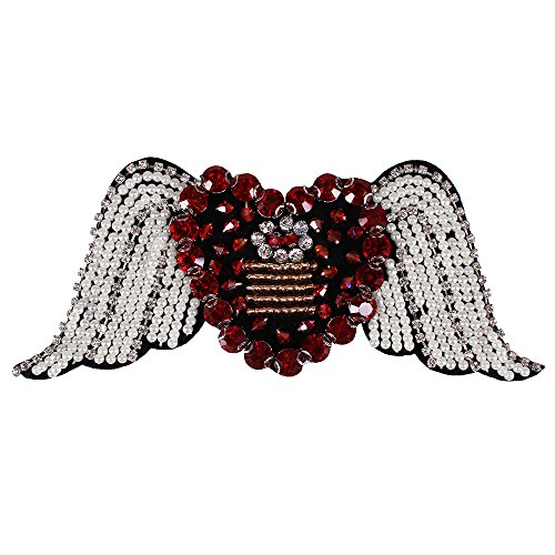 Rhinestone Heart Wing - 1piece Heart with Wings Embroidery DIY Design Beading Patches Applique Sew on Badge Garment Decorated Sewing Supplies TH601