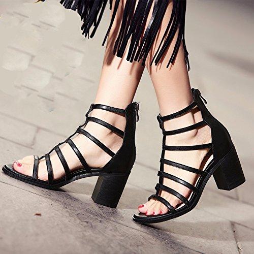 KPHY Roma Sandalias de Tacón Grueso para Mujer, con Cremallera en la Parte Trasera, Zapatos de Primavera y Verano, Puntera Negra, Tacones de 7 cm negro