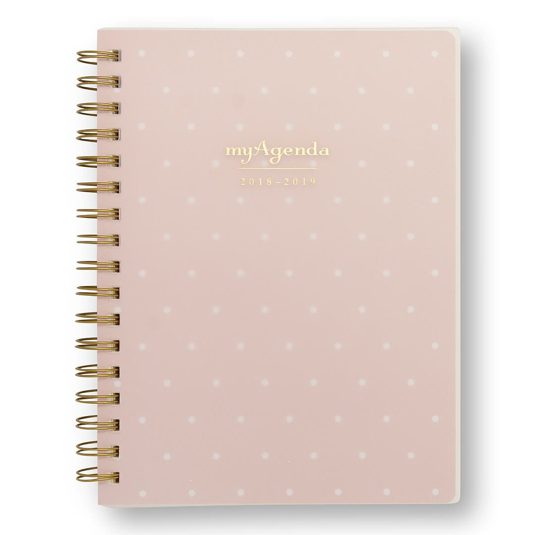 myAgenda Desktop Spiral Day Planner (August 2018 - December 2019) Organize Your Busy Life with Our Unique Week-at-A-View Layout. Weekly Inspirational Quotes Included. (Blush Dot)