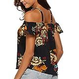Keliay Cute Womens Tops Summer,Fashion Women Off Shoulder Sleeveless Casual Backless Printed Ruffles Camis Top Dark Blue