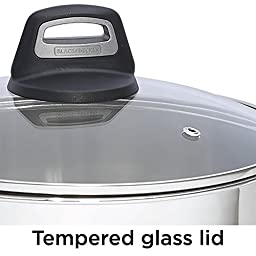 BLACK+DECKER 83383 Durable Stainless Steel Saucepan with Glass Cover, 2 quart, Silver