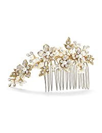 Mariell Handmade Brushed Gold and Ivory Pearl Wedding Comb - Crystal Jeweled Bridal Hair Accessory