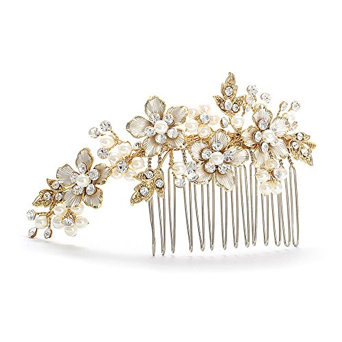Mariell Handmade Brushed Gold and Ivory Pearl Wedding Comb – Crystal Jeweled Bridal Hair Accessory