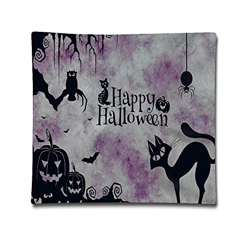 Jidmerrnm Halloween Cat Weird Surreal Purple Cotton Linen Throw Pillow Cover Shell for Couch Sofa Home Decoration 18 X 18 Inches -