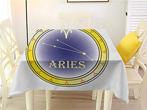 L'sWOW Square Tablecloth lot Zodiac Aries Astrology Sign in a Circle with The Horoscope Constellation Yellow Navy Blue and Orange Color 60 x 60 Inch