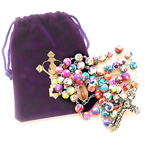 Rosary-Beads-Necklace-For-Women-or-Men-Catholic-Girls-or-Boys-First-Holy-Communion-Gift-Guadalupe-Virgin-Mary-Colorful-Rosary-with-FREE-Velvet-Pouch