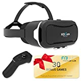 "Virtual Reality Headset by NSInew – Over 30 VR Apps & Bluetooth Remote Included with VR Headset – Compatible with Apple & Android Phones from 4-6"" Size –360° VR Goggles for 3D Games"