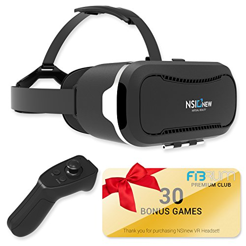 Virtual Reality Headset Over 30 VR Apps & Bluetooth Remote Included with VR Headset – Compatible with Apple & Android Phones from 4-6″ Size -360° VR Goggles for 3D Games