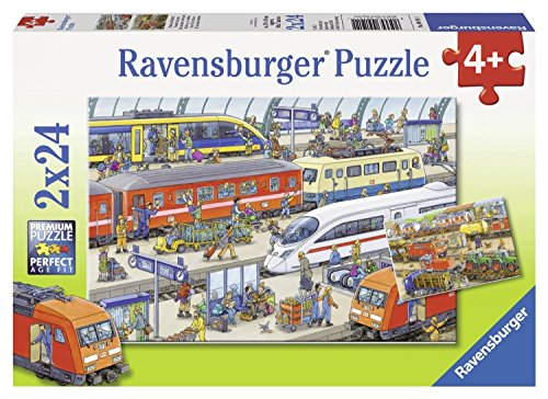 Ravensburger Busy Train Station Jigsaw Puzzle (2 x 24 (200 Pc Ravensburger Kids Puzzle)