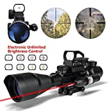 AR15 Rifle Scopes Tactical 4-12x50EG Illuminated Range Finder Reticle Illuminated and Red Green Dot Sight with R&G Laser 22&11mm Weaver/Picatinny Rail Mount (C4-12x50EG+HD104+JG13(red))