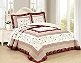All American Collection New 3pc Georgia Embroidered Bedspread/Quilt Set (King 3pc)