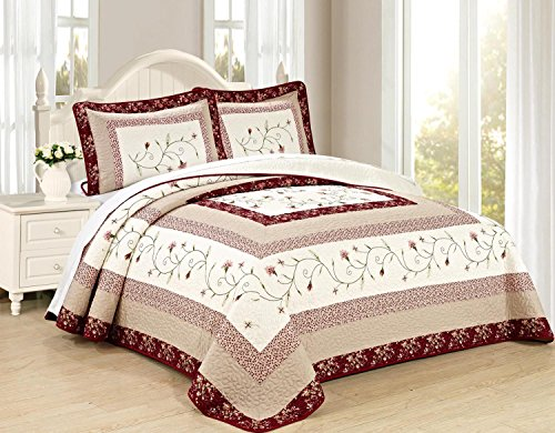 All American Collection New 3pc Georgia Embroidered Bedspread/Quilt Set (King 3pc) (All King Size Bedspreads)