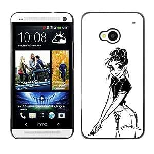 """For HTC One ( M7 ) Case , Chica Dibujo al lápiz Sexy Look Shorts Big Eyes"""" - Diseño Patrón Teléfono Caso Cubierta Case Bumper Duro Protección Case Cover Funda"""