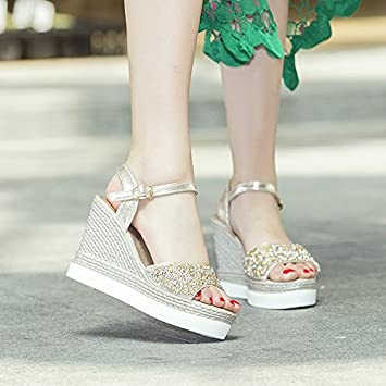 c9b952b0513b71 LGK FA Summer Women S Sandals Xia Shushi Sandals Women Sequins Diamond Heels  Fish Heels High Water Table